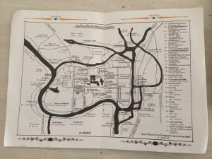 Kaart met fietsroute door Ayutthaya