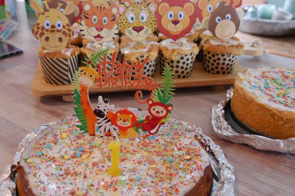 jungle taart met confetti