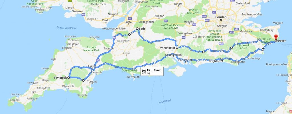 route roadtrip  zuid Engeland