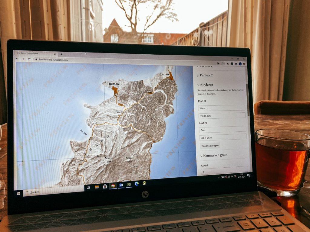 gepersonaliseerde landkaart family peaks